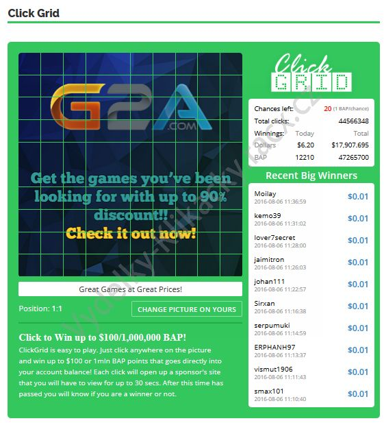 Paidverts click grid